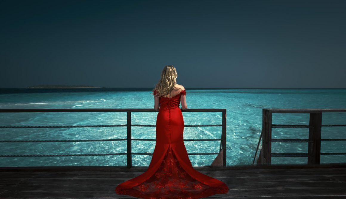 Maldives photographer views of Lady in red photography photo shoot