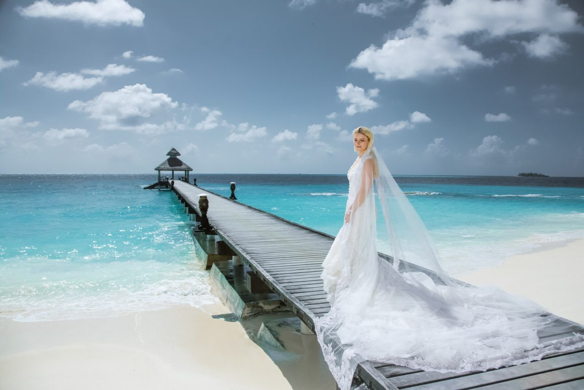 photography of bride and white wedding dress portrait in maldives