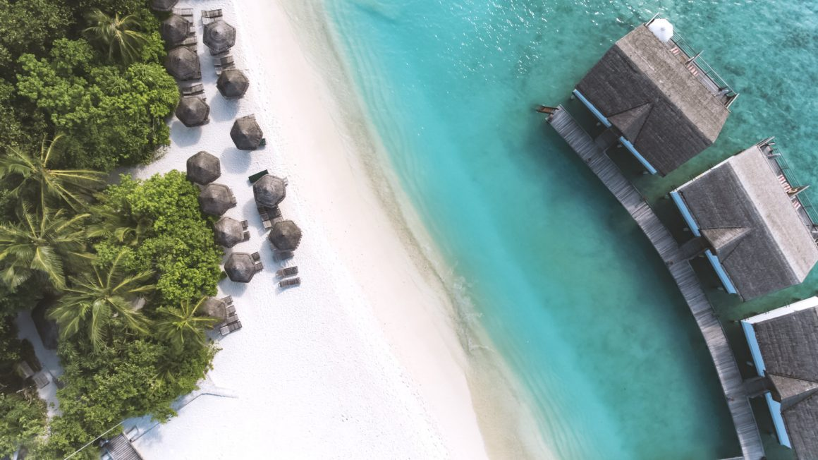 over view of maldives resort island