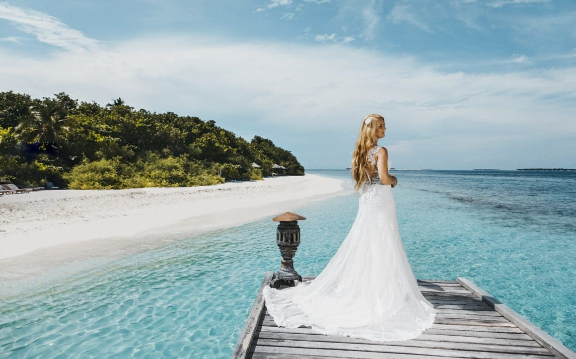 photography of amazingly beautiful scenic of maldives wedding bride